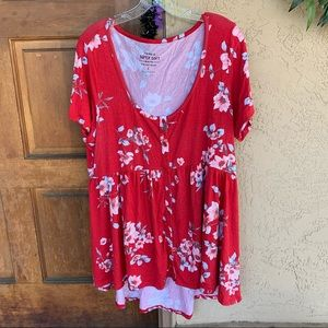Red Floral Babydoll Tunic